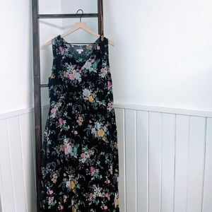 Merona XL Floral Sleeveless Peasant Maxi Dress